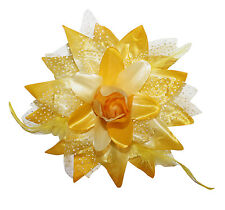 NEW Dotted Flower Lily Alligator Hair Bow Clip & Brooch with Feather Accents USA