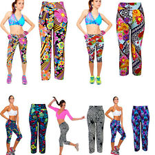 Womens Sport Pants High Waist Printed Stretch Cropped Fitness YOGA Leggings NEW