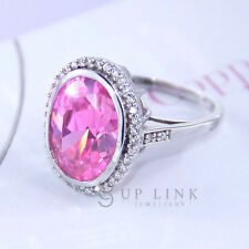 UP LINK New Fashion Pink Cubic Zirconia 925 Sterling Silver Women Cocktail Ring