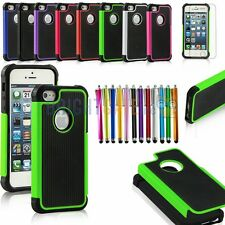 2in1 Hybrid TUFF Rugged Silicone Case For iPhone 5+Stylus Pen+Screen Protector