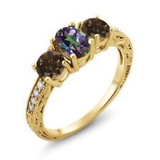 1.84 Ct Green Mystic Topaz Brown Smoky Quartz 18K Yellow Gold Plated Silver Ring