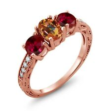 2.12 Ct Oval Ecstasy Mystic Topaz Red Created Ruby 18K Rose Gold Ring