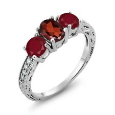 2.12 Ct Oval Red Garnet Red Ruby 18K White Gold Ring