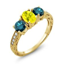 2.02 Ct Oval Canary Mystic Topaz Blue Diamond 14K Yellow Gold Ring