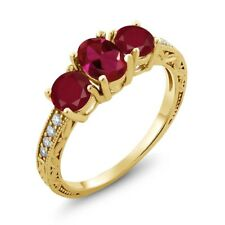 2.12 Ct Oval Red Created Ruby Red Ruby 18K Yellow Gold Plated Silver Ring