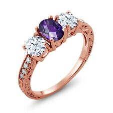 2.37 Ct Oval Checkerboard Purple Amethyst 18K Rose Gold Ring