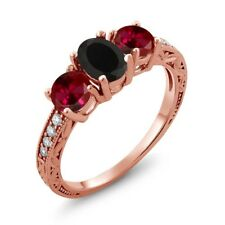 2.12 Ct Oval Black Onyx Red Created Ruby 18K Rose Gold Ring