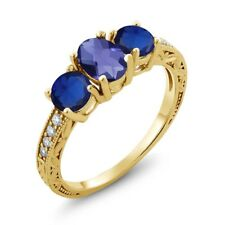 1.97 Ct Oval Checkerboard Blue Iolite Simulated Sapphire 18K Yellow Gold Ring