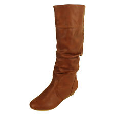 Womens Faux Leather Knee High Designer Boots Ladies Wedge Heel Boot Size 3-8