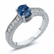 1.17 Ct Oval Royal Blue Mystic Topaz White Sapphire 14K White Gold Ring