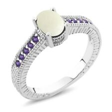 1.03 Ct Oval Cabochon White Opal Purple Amethyst 18K White Gold Engagement Ring