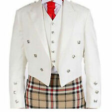 White Prince Charlie Jacket With 3 Button Waistcoat and Vest Scotish Kilt Jacket