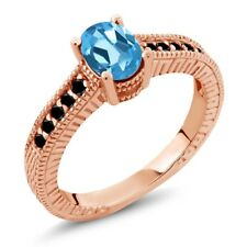1.13 Ct Oval Swiss Blue Topaz Black Diamond 18K Rose Gold Plated Silver Ring
