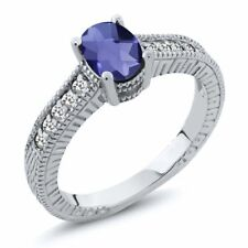 0.87 Ct Oval Checkerboard Blue Iolite White Sapphire 925 Sterling Silver Ring