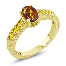1.20 Ct Oval Orange Red Madeira Citrine Yellow Sapphire 14K Yellow Gold Ring