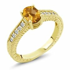 0.92 Ct Oval Checkerboard Yellow Citrine White Sapphire 14K Yellow Gold Ring
