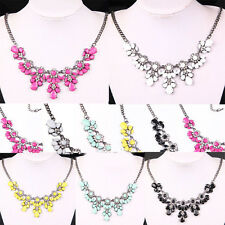 Stylish Women Girls Flower Crystal Bubble Bib Choker Statement Jewelry Necklace