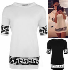 New Womens Aztec Print Short Sleeve T-Shirt Ladies Oversized Baggy Tribal Top