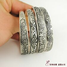 Tibetan Tibet Silver Totem Carved Bangle Cuff Fashion Narrow Bracelet