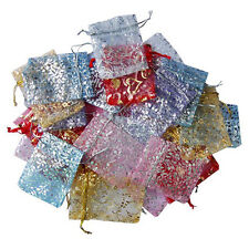 50Pcs Vogue Organza Jewelry Wedding Favor Rose Gift Pouch Bags 7X9cm Mix Colors