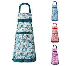 New Floral Womens Kitchen Aprons Restaurant Bib Cooking Apron Dress with Pocket
