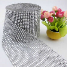 "4.75"" Wedding party Home Decor Rhinestone Crystal Silver Diamond Mesh Wrap DIY"