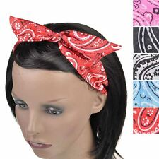 Girls Pasley Wire Headband Retro Band Wrap Hair Bendy Hairband