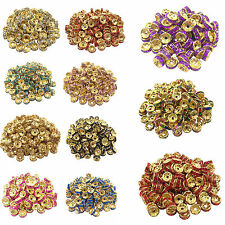 Practical 50/100Pcs Golden Plated Crystal Disc Spacer Loose Bead Charm  DIY 8mm