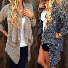 New Womens Coat Top Casual Celebirty Long Sleeve Waterfall Cape Cardigan Shirt