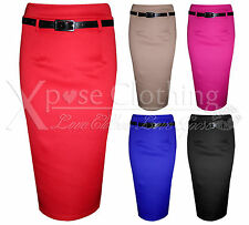 NEW WOMENS BODYCON PENCIL SKIRTS LADIES BELT STRETCH SKIRT LONG OFFICE WORK SEXY
