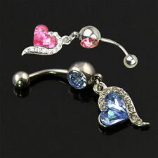 Rhinestone Crystal Heart Barbells Navel Belly Bar Button Ring Body Piercing Hot