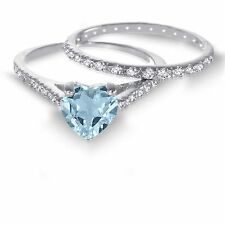 White Gold Heart Cut Aquamarine CZ 1.92 CT Wedding Engagement Silver Ring Set