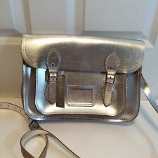 NWT CAMBRIDGE SATCHEL COMPANY FOR J CREW METALLIC SATCHEL $205 SILVER LEATHER