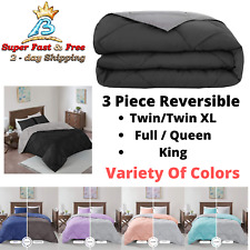 3 Piece Reversible Polyester Microfiber Goose Down Alternative Comforter Set New