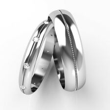 Matching Wedding Rings His and Hers Diamond Set Bands 18ct White Gold Patterned