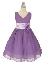 New Flower Girls Lilac Lavender Chiffon Dress Size 4 Pageant Dressy Easter Party