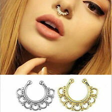 2PCS Wide Tribal Non-Piercing Body Jewelry Septum Clip-On Hoop Fake Nose Ring *