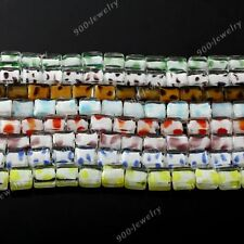 1 Strand Square Cubic Flat Lampwork Glass Loose Beads Jewelry Making DIY 12mm