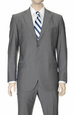 Lubiam Studio Slim Fit Grey Tonal Striped Two Button Wool Suit Made in Italy