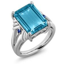 9.74 Ct Octagon Swiss Blue Topaz Blue Sapphire 925 Sterling Silver Ring