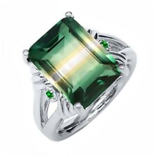 7.76 Ct Green Yellow Created Quartz Green Simulated Emerald 925 Silver Ring