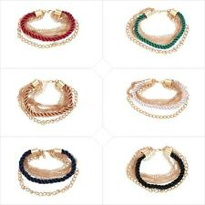 Fashion Elegant Gold Chain Braided Rope Multilayer Bracelet Hand Chain Nice Gift