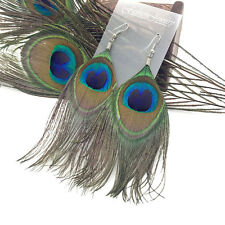Hot Sell Pretty Lady Peacock Feather Earrings Dangle Style Studs Earrings