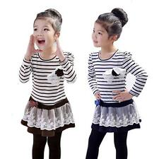 Girls Kids Lace One-Piece Tutu Dress Bowknot Flower Striped Long Sleeves 2-6Y