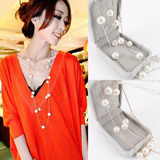 Women Unique Design Fashion Double Layers Alloy Faux Pearl Long Chain Necklace
