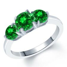 3.18 Ct Round Green Simulated Emerald 925 Sterling Silver Ring