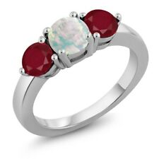 1.77 Ct Round Cabochon White Simulated Opal Red Ruby 925 Sterling Silver Ring