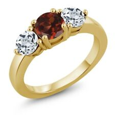 2.20 Ct Round Red Garnet White Topaz 18K Yellow Gold Plated Silver Ring