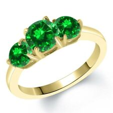 3.18 Ct Round Green Simulated Emerald 18K Yellow Gold Plated Silver Ring