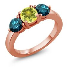 2.10 Ct Round Canary Mystic Topaz Blue Diamond 18K Rose Gold Plated Silver Ring